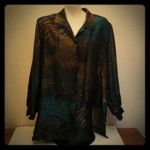 Allison Daley II button up long metallic shirt 16W